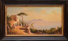 "Giacinto Gigante (Italian 1806–1876) Bay of Naples, oil on wood panel, signed, image size 8 x 15 ½"""