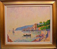 Italian School signed Prunelli, Coastal Scene, 19-1/2