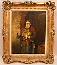 LUDWIG KNAUS, Germany (1829-1910), oil on canvas, Monk, signed lower left, 20
