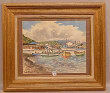 20th Century watercolor painting of Boats & figures in a harbor signed illegibly lower left