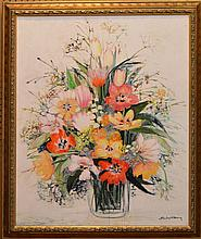 Michel-Henry (FRENCH, 1928) oil on canvas, Floral still life, signed lower right, 36