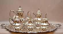 Sterling 6 pc. tea service, Poole, matching tray, coffee pot , teapot, covered sugar, creamer and waste bowl, 248ozt