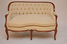 Diminutive French style tufted back settee