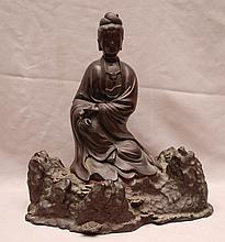Antique Chinese 18th/19th Century Bronze QuanYin 11in tall x 10in wide.