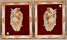 Pair of framed bisque wall plaques of kissing couples, 12