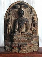 Ancient Tenkasi Nepal Granite Stone Buddha Carving With ScriptLoosely sitting on a form fitted wood display base; the Buddha Shrine stone carving measures 6.2.25