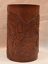 Carved Chinese bamboo brush pot, 6 1/2