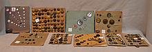 Lot of antique buttons, incl; 9 lots of buttons on cardboard AND 7 bag lots of buttons