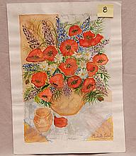 Michele Cascella (Italian, 1892-1989) vase of flowers, watercolor, signed, image size 16 x 11 ¼