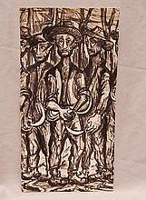 Jose Clemente Orozco (Mexican 1883-1949) study of farm workers, ink / gouache on card, signed
