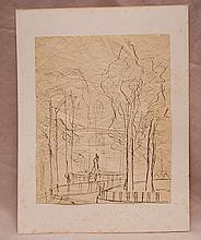 Ardengo Soffici (Italian 1879-1964) park scene, ink on paper, signed