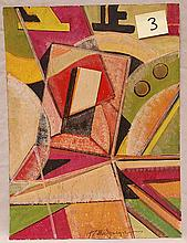 Konstantin Medunetsky (Russian 1899-1935) constructivist composition, gouache on paper, signed in Cyrillic, Russian/Soviet stamp on reverse, size 15 ¾ x 11 ¾