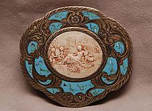 Enamel and ivory compact, 3 3/8
