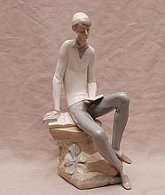 Lladro boy reading book, 11 1/2