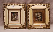Pair paintings on ivory in white & gold frames
