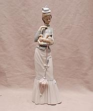Lladro girl with parasol and dog, 15