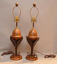 Pair acorn form wood lamps with metal leaves, 25