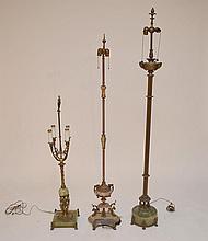 (3) lamps, Gilt metal, bronze, green onyx and pink marble floor lamps (needs polishing)