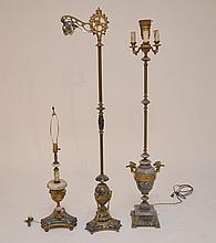 3 gilt metal, bronze and black marble lamps (needs polishing)