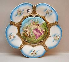 Hanging ceramic and brass plaque with angel motif, 13