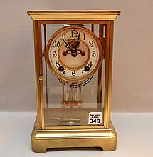 Brass & Crystal Regulator Clock.  Condition: good. Ht. 11