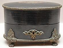 Boulle Inkwell with 2 overlaid bottles in fitted oval wood box, brass inlay, 4