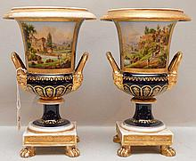 Pair of French urns with painted landscape scenes, 9 1/4
