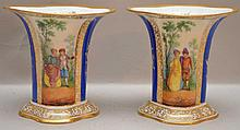 Pair of Dresden Germany vases with alternating decorated panels and gold trim, 5