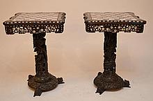 Pair Chinese game tables, finely carved supports and apron with mother of pearl inlay surrounding border of inlay marble squares