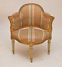 Diminutive French painted corner chair, needs upholstery