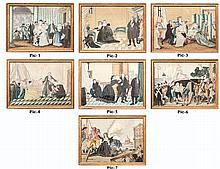 Textiles, (7) rare needlework pictures depicting life of Elizabeth of France, Born at Versaille, May 3, 1764- May 10, 1794. A French Princess, youngest sister of King Louis XVI. As a result of her involvement in the Revolution, she was sent to the