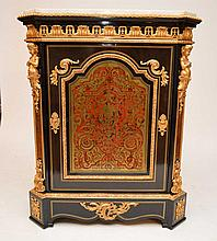 French Boulle cabinet with dore bronze mounts, fitted white marble top, 48