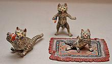 3 Vienna bronze miniature cats
