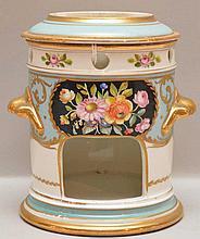 Continental porcelain receptacle, floral motif, 5 3/4