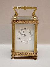 Brass & glass footed carriage clock, 4 1/2