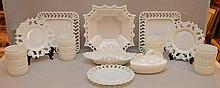 Collection of vintage American milk glass, 2 eagle/flag plates, lacey bowl, 2 lacey plates, American hen covered dish (eagle), 4 tumblers, odd plate