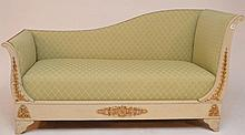 French style Recamier, celery green geometric pattern upholstery