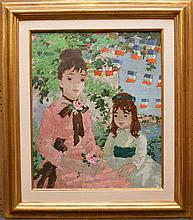 Suzanne EISENDIECK (1908-1998) oil on canvas, Mother & Child, 22