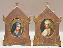 Pair of oval porcelain miniature plaques in brass frames with crosses at top (2