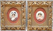 Pair of painted oval porcelain plaques in carved gold frames, (2 3/8
