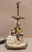 Porcelain romantic couple holding bird cage made into lamp