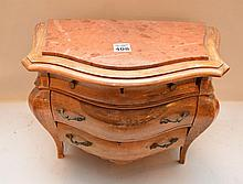 French style miniature 3 drawer wood chest, 9 1/4
