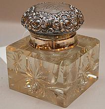 Sterling and cut crystal inkwell, 3 3/4