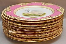 10 Antique English Porcelain Plates.  Condition: good with minor normal wear.  Dia. 8 3/4