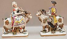 Pair German Porcelain Figures Man & Woman Riding Goats. Ht. 5 1/4