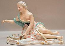 Meissen Porcelain Figure.  Condition: with multiple old repairs  Lth. 7