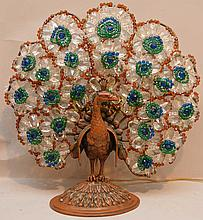 Metal peacock lamp with glass beading