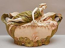 Royal Dux centerpiece bowl with reclining female, 9 1/2