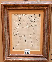 "Attributed to: Filippo Marinetti(Italian 1876-1944) ""Passata Futurista!"", ink on paper, signed, image size 7 x 5 """