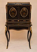 Boulle abattant, ormolu mounts, 2 interior shelves over 2 drawers over fold out writing surface, 53
